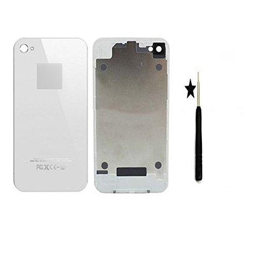 iReplace ltd - Cover posteriore per iPhone 4S, in vetro + cacciavite, novità, colore: Bianco