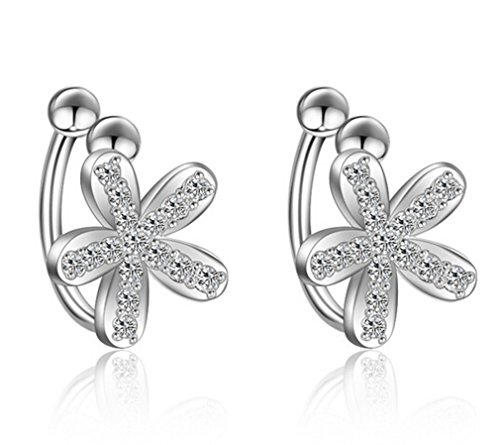 Boowhol Pendientes de clip para mujer y niña, diseño de flores simples con circonitas, plata de ley 925