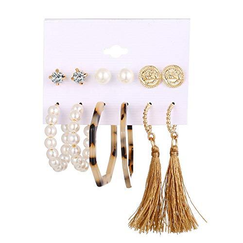 Juego de pendientes de borla con forma de círculo de perlas de imitación acrílicas de 6 piezas, joyería para niña