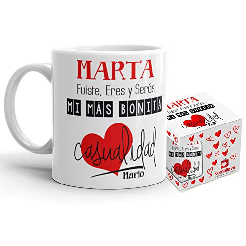 Kembilove Taza de Café Pareja – Taza de Desayuno Eres mi mas Bonita Casualidad Rojo con Nombre Personalizado – Taza de Café y Té para Enamorados – Tazas para Parejas de 350 ml San Valentín