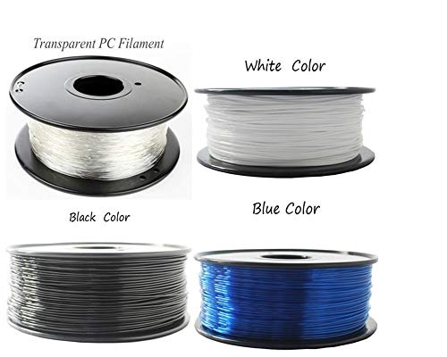 XuBaoFu, 2019 1,75/3 mm Premium-PC-Filament for 3D-Drucker Polycarbonat-Filament Starke Thermoplast-Temperaturbeständigkeit (Color : 100g 1.75mm Black)
