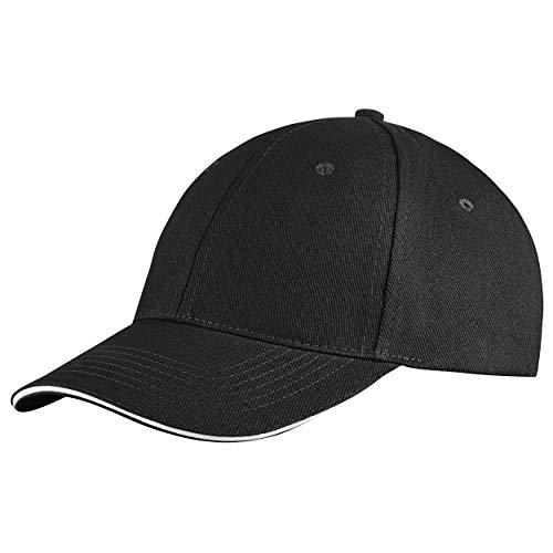 Style Klassische Baseball Cap für Damen und Herren aus reiner Baumwolle, verstellbar, Basecap Kappe Mütze Hut (Schwarz)