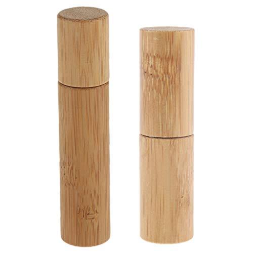 Chiwanji 2pcs Bouteilles Vide en Bambou Rouleau en Acier Inoxydable à Billes Pour Huiles Essentielles Huiles de Parfum et Autres Liquides 10 ml