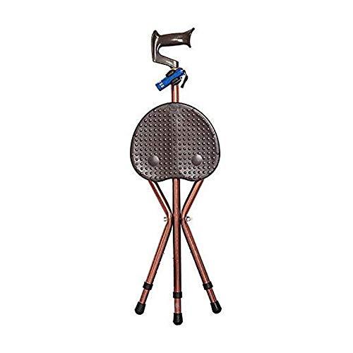 Vouwen Lichtgewicht Verstelbare Hoogte Rietstoel 400 lbs Capaciteit Dikke Aluminium Rietstoel Krukas Stoel met LED Licht Unisex 3 Benen Rietstoelen Wandelen Stick Tall