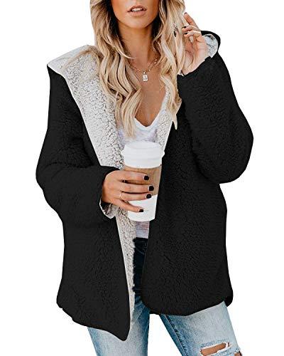 ReachMe Womens Oversized Sherpa Jacket Fuzzy Fleece Teddy Coat with Pockets Open Front Hooded Cardigan(Black,2XL)