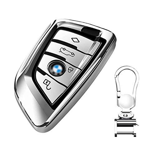 Autoschlüssel Hülle für BMW – Cover TPU Silikon Hochglanz Schutzhülle Schlüsselhülle für BMW Keyless Serie 1 3 5 7 X1 X3 X4 X5 X6 F30 E30 Schutzhülle Schlüsselhülle Cover Mit Schlüssel einhaken