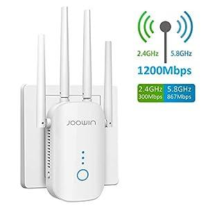 JOOWIN WiFi Repetidor 1200Mbps 2.4 GHz y 5GHz Amplificador de Señal de Red WiFi de Doble Frecuencia Punto de Acceso Inalámbrico Enrutador WiFi Extensor,4 Antenas,Puerto Ethernet, Modo Ap(Blanco)