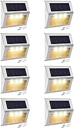 top 10 warm solar lights Solar step light with higher battery capacity JACKY LED 8 pack stainless steel 3LED solar…