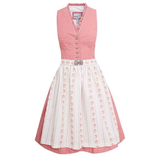 MarJo Trachten Damen Trachten-Mode Midi Dirndl Dalena in Rosa traditionell, Größe:40, Farbe:Rosa