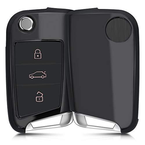 kwmobile Autoschlüssel Hülle kompatibel mit VW Golf 7 MK7 3-Tasten Autoschlüssel - TPU Schutzhülle Schlüsselhülle Cover in Hochglanz Anthrazit