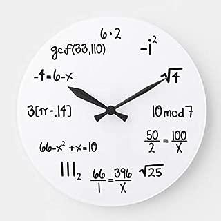 Enidgunter Funny Math Genius Geek Nursery Wall Clock for Kids Wooden Wall Art Decoration Christmas Clock Gifts 12 inches