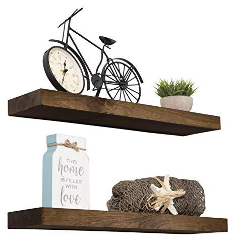 Imperative Décor Floating Shelves Rustic Wood Wall Shelf USA Handmade | Set of 2 (Dark Walnut, 24