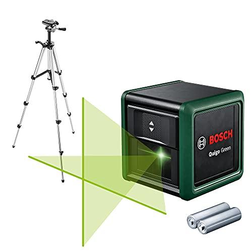 Bosch laser lignes Quigo Green générationII avec 1,1 m trépied (laser lignes horizontales + verticales, technologie de laser vert, portée jusqu'à 12m, précision +/-0,6mm/m, en carton)