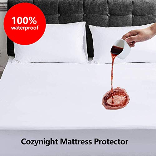 Cozynight Queen XL Waterproof Mattress Protector Hypoallergenic Soft Breathable Mattress Cover Premium Washable Bed Cover Safe Sleeping for Adults amp Kids Vinyl Free