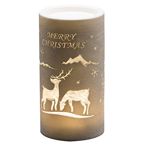Konstsmide LED Snow Globe Lantern'Merry Christmas and Reindeer Scene', Water Filled/Water Spinner/5 Hour Timer/Battery Operated:3xAA 1.5V (excl.)/Christmas Lantern 1 Warm White Diode