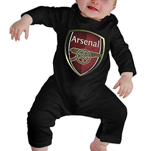 Nyanhif Baby Boys Girls Round Neck Long-Sleeve Jersey Bodysuit Arsenal Logo Funny Crawling Clothes Black 46