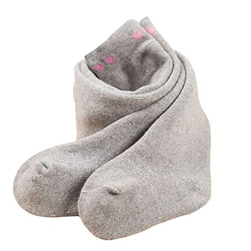 Tauzveok Medias de fondo de bebé para mantenerse caliente en otoño e invierno, niñas bebés, bucles gruesos, niñas de 0 a 1 a 3 años, pp grande cintura alta, gris claro, L
