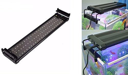 takestop® LED-lamp 300 W, wit licht, maanblauw, uittrekbaar, 30-45 cm, voor planten en vissen in het aquarium