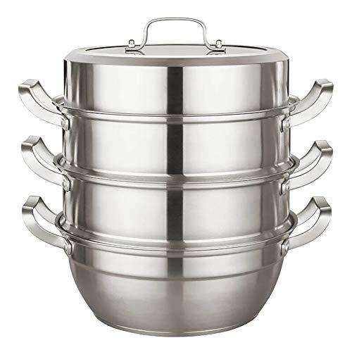 LKJJTG Steamer Pans roestvrij staal, met ingekapselde bodem en glazen deksel, 3-laags dikke, multifunctionele keukenpan