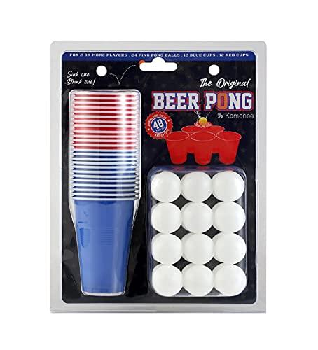 Komonee Beer Pong Set 48-teilig American Adult Indoor Neuheit Trinkspiel 24 Tassen und 24 weiße Bälle
