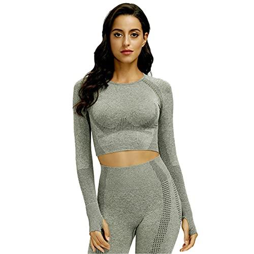 SotRong Camiseta de compresión para mujer, sin costuras, para yoga, gimnasio, manga larga, con agujero para el pulgar, A-verde, XL