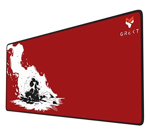 GREKT XXL Mauspad Gaming 900 x 400 mm | Geräusch hemmend | verbessert Präzision und Geschwindigkeit | Stabiler Halt | XXL Mousepad Gaming | Komfort Mousepad | 3mm Höhe | Rot
