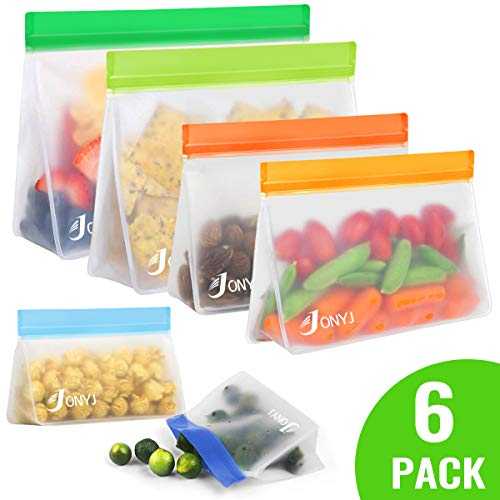 Reusable Food Storage Bags, 6 Pack Stand-Up Freezer Bags (2 Reusable Snack Bags, 2 Reusable Sandwich Bags, 2 Reusable Lunch Bags) - Extra Thick Leakproof Ziplock Bags - Home Organization BPA Free