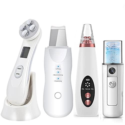 Kit d'instrument de beauté de rajeunissement de la Peau, RF EMS LED Mesothérapie Massager du Visage + Écrudisseur à la Peau ultrasonique + Nettoyant de Pores électriques en Caresse Noir + Nano Spray