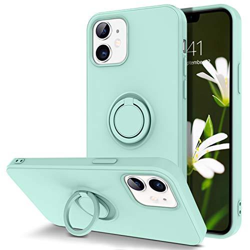 DUEDUE Coque iPhone 12 Pro avec Anneau en Silicone Protection Caméra Souple Fine Anti-Rayures, Etui Protection iPhone 12 Bague Vert Clair Antichoc Coque pour iPhone 12/iPhone 12 Pro 6.1''