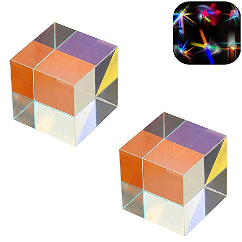 Mary Paxton 2PACK Glass Prism,X-CUBE Optical Glass K9 RGB Combiner Dispersion Splitter Cross Dichroic Prism For Teaching Tool Rainbow Light Spectrum Physics Teach Decoration Art Decor Mirror Toy 0.8''