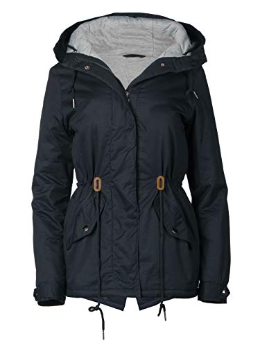 Trisens Damen Jacke Übergangsjacke Kapuze 100% Baumwolle leicht Mantel Kurz, Farbe:Dunkelblau, Größe:M