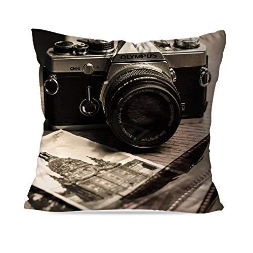 Capa de Almofada Avulsa Decorativa Câmera Retro