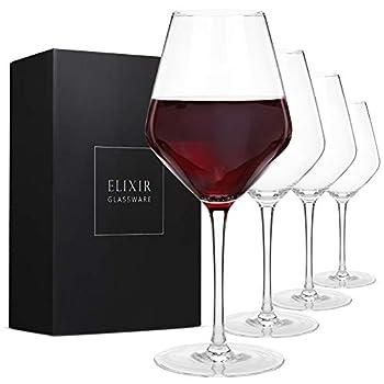 Red Wine Glasses – Set of 4 Hand Blown Large Wine Glasses – Long Stem Wine Glasses Premium Crystal – Wine Tasting Wedding Anniversary Christmas – 22oz Clear