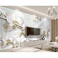 Iusasdz 任意のサイズの壁紙をカスタマイズする壁画ヨーロピアンスタイルの蘭のパターンテレビの背景の壁の3D壁紙-350X250Cm