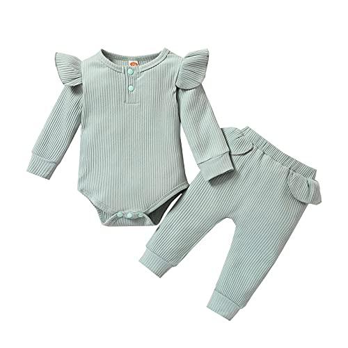 NBAA Säuglings Baby Langarm Fester Strampler Pyjama Zweiteiliger Anzug Jungen Mädchen Niedlich Gemütlich Gerippte Rüschen Langärmliges Einfarbig Hängender Strampler Overall + Hosen Outfits