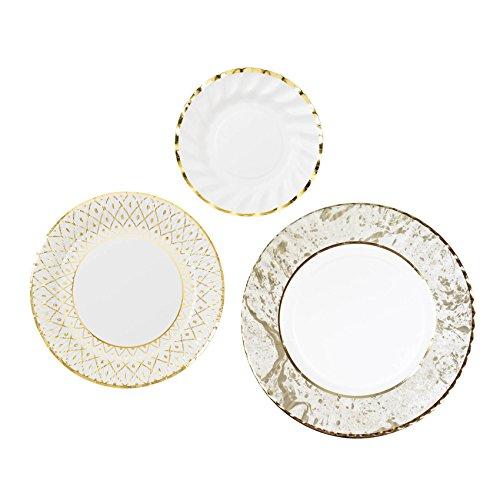 Talking Tables PPG-DCO TRI Party Porcelain Gold Large Marble Effect Plates, Papier, Multicolores, 0,03 x 0,27 x 0,31 cm