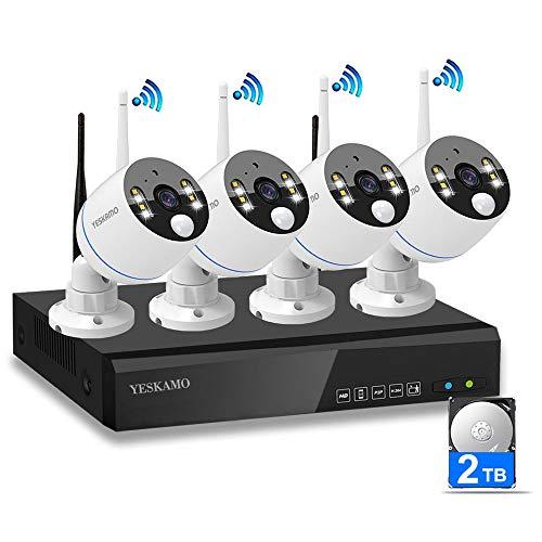 [WLAN Überwachungssystem mit Audio & Flutlicht] YESKAMO 8CH Überwachungskamera Set mit 4pcs 3MP WiFi Kameras, 2TB Festplatte, Nachtsicht Bewegungserkennung Human-Erkennung & Zweiwege Gesprechen