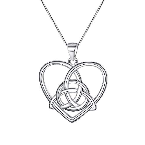 EVER FAITH Celtic Necklace 925 Sterling Silver Good Luck Vintage Irish Heart Triangle Knot Pendant Birthday Gift for Women