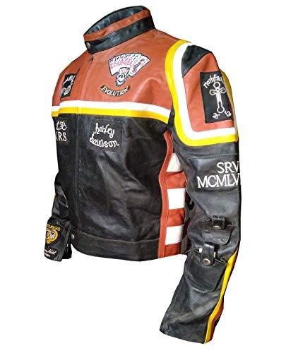 paramount-fashion Mickey Rourke Giacca Moto in Vera Pelle Uomo in Colore Arancione- L