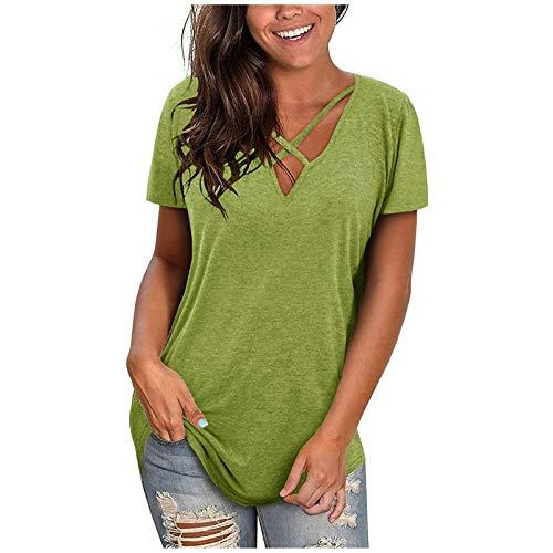 KYZRUIER Blusa de manga corta para mujer, estilo informal, con cuello en V, liso, liso, para mujer