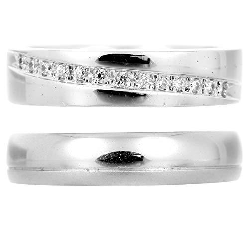 [ココカル]cococaru ペアリング シルバー リング2本セット ダイヤモンド マリッジリング 結婚指輪 日本製(レディースサイズ19号 メンズサイズ1号)