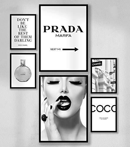 6er Fashion Poster Set DIN A4 - Wandbilder - Premium Fotopapier Matt - Wanddeko - Coco Prada Marfa - 4x 13x18cm - 2x DINA4