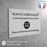 Plaque professionnelle PVC personnalisée en ligne   16 couleurs disponibles   Plaque cabinet médecin infirmier (Gris mat)