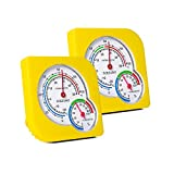 BOEESPAT 2-Pack Mini Indoor Thermometer Hygrometer Temperature Humidity Monitor Gauge for Home, Room, Kitchen, Patio, Planting Room, Reptile Terrariums (No Battery Needed) (2-Pack)-Yellow