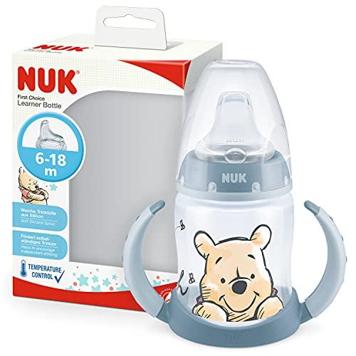 NUK First Choice+ Trinklernflasche | 6–18Monate | 150 ml | Temperature Control Anzeige | Anti-KoliK-Ventil | auslaufsichere Trinkschnabel | Ergonomische Griffe | BPA-frei | Disney Winnie Puuh (blau)