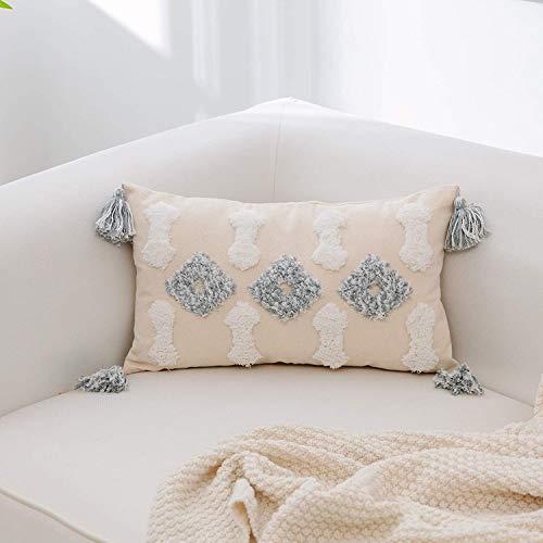UPOPO 1 funda de cojín bohemia decorativa con borla de diamante para sofá, dormitorio, salón, 30 x 50 cm