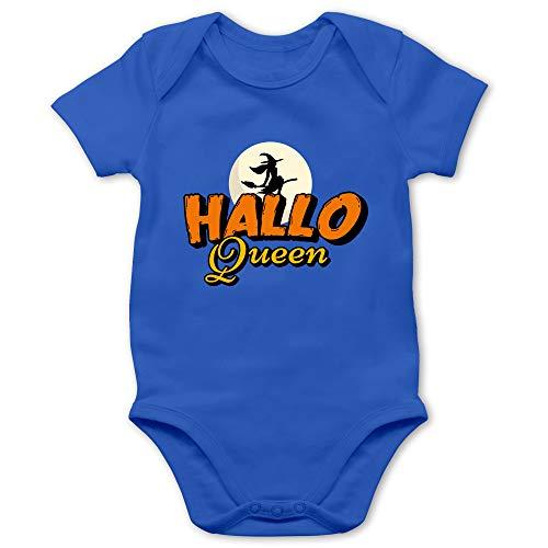 Shirtracer Halloween Baby - Hallo Queen - 3/6 Monate - Royalblau - Spruch - BZ10 - Baby Body Kurzarm für Jungen und Mädchen