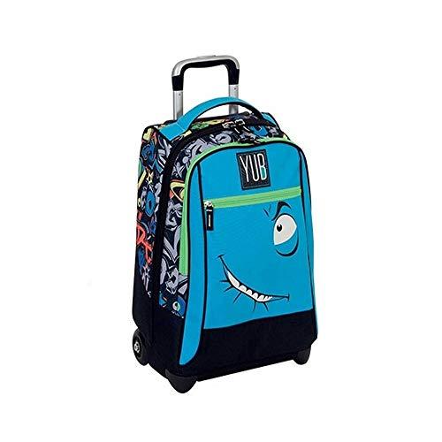 TradeShop - Zaino Trolley SVALVOLATI YUB Boy Azzurro Ragazzi Scuola Viaggi - 10500