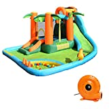 HONEY JOY Inflatable Water Slides, 7-In-1 Kids Jumping Bouncer House w/Large Splash Pool & Slides, Water Canons, Ocean Balls, Jungle Themed Outdoor Blow up Water Slides for Backyard (With 780w Blower)