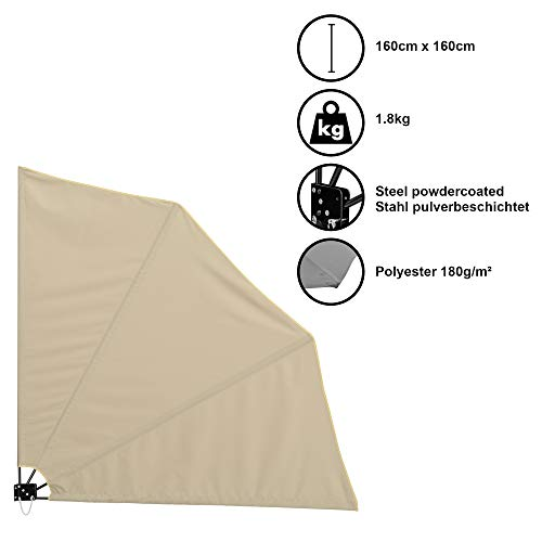 [casa.pro]®] Balkonfächer Wandklappschirm Wandschirm Seitenmarkise Balkonumspannung Klappbar Sichtschutz Balkon Sonnen Wind Schutz Beige / 160x160cm / 1,8kg / Stahl/Polyester 180g/m²